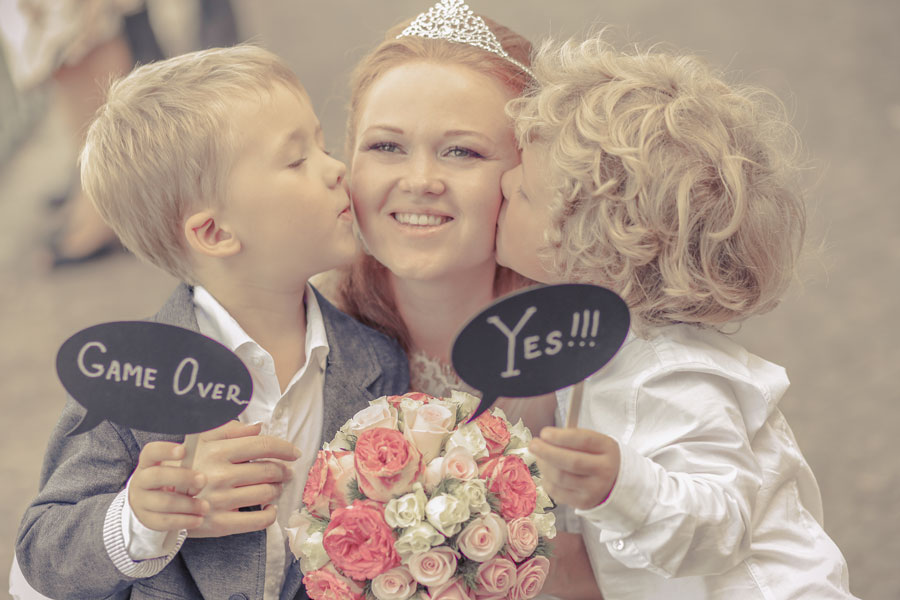 bride with nephews